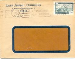 ALGÉRIE SOCIÉTÉ GÉNÉRALE D'ENTREPRISES ALGER OMec RBV 4 MARS 49 ALGER - TIMBRE POSTE AÉRIENNE 15 Fr YT 3 - Algérie (1924-1962)