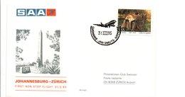 PREMIER VOL SAA JOHANNESBURG-ZÜRICH 1985 - Vliegtuigen
