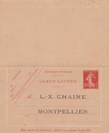 Carte Lettre Semeuse Camée 10 C Rouge  E8 Neuve Repiquage LX Chaine - Postwaardestukken