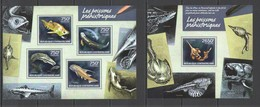 CA432 2014 CENTRAL AFRICA CENTRAFRICAINE FAUNA PREHISTORIC FISH POISSONS PREHISTORIQUE KB+BL MNH - Postzegels
