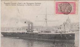 """PAQUEBOT FRANCAIS """"NATAL"""" DES MESSAGERIES MARITIMES LIGNE DJIBOUTI MADAGASCAR LA REUNION ET MAURICE 1911 TBE - Paquebote"""