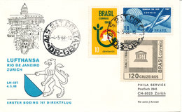Brazil Cover First Lufthansa Flight LH-507 Rio De Janeiro - Zurich 4-5-1968 - Brazilië