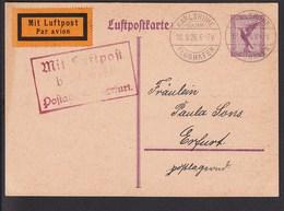 A5 /   Luftpost Luftpostkarte / Karlsruhe - Erfurt  1926  TOP CARD - Luftpost