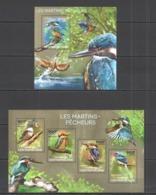 CA461 2014 CENTRAL AFRICA CENTRAFRICAINE FAUNA BIRDS KINGFISHERS LES MARTINS-PECHEURS KB+BL MNH - Oiseaux