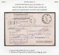 Belgique Stalag XA - Carte Réponse Pour La Famille - Griffe Belge Bilingue (VG) DC4784 - Guerre 40-45
