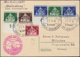 Zeppelin LZ 129 Hindenburg 8. Nordamerika-Fahrt Karte Bordpost 17.9.36 - Zeppelin