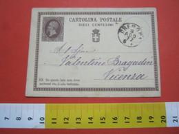 PC.3 ITALIA REGNO CARTOLINA POSTALE - 1874 10 CENT BRUNO DA CREMONA 1877 X VICENZA - 1861-78 Victor Emmanuel II.