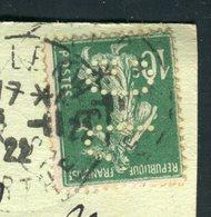 Type Semeuse Perforé JG ( Jean Gonelle ) Sur Carte Postale De La Flèche En 1922 Pour Le Lude  - Réf N 98 - Storia Postale