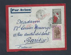 MADAGASCAR LETTRE SUR TIMBRES PAR AVION OB AMBOSITRA POUR PARIS Md MONCORGE LOUISE : - Madagascar (1889-1960)