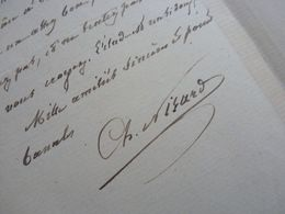 Charles NISARD (1808-1890) LITTERATEUR Et PHILOLOGUE. Académie BL. Frère Charles & Désiré Nisard - AUTOGRAPHE - Autographes