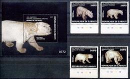 2017 Djibouti, National Geographic, Polar Bears, S/sheet + 4 Stamps, MNH - Bears