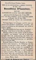 Erembodegem, Brussel, 1940, Benedictus D'haeseleer, Van Den Berghe - Devotieprenten