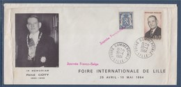 = Foire Commerciale Internationale De Lille 30.4.64 Journée Franco-Belge 2 Timbres 1412 Pour La France René Coty - Storia Postale