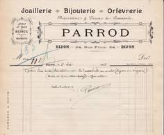 21 DIJON COURRIER 1907  Joaillerie Bijouterie Orfèvrerie  Bijoux Diamant PARROD  - X60 Côte D' Or - 1900 – 1949
