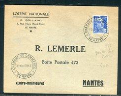 Oblitération De La Chambre De Commerce Du Havre Sur Enveloppe Pour Nantes En 1953 ( Grèves Des PTT ) - Réf N 110 - Marcophilie (Lettres)