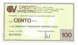 1977 - Italia - Credito Varesino - La Centrale - Finanziaria Generale S.p.A. - [10] Assegni E Miniassegni