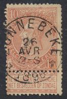 """Fine Barbe - N°57 Obl Relais """"Zonnebeke"""" (T 0). TB / COBA : 15 - 1893-1900 Barbas Cortas"""