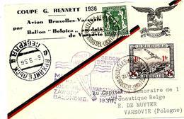 LE 0334. Coupe G. BENNETT 1936 - BRUXELLES-VARSOVIE (Pologne) Ballon BELGICA - TPA 6 + TP 435 BXL-AEROPORT 28.8.36.TB - Storia Postale