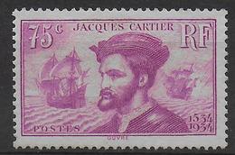 1934 - YVERT N° 296 NEUF REGOMME - COTE = (110) EUR. - CARTIER - France