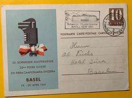 9314 -  Schweizer Mustermesse 25e Foire Suisse Basel Flame Bureau De Poste Automobile  29.04.1941 Dernier Jour - Entiers Postaux