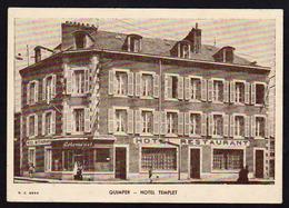 QUIMPER: Plan TOP Sur L'Hôtel Templet, Carte Postale PUB écrite à L'encre En 1951 Avec Une .................... - Quimper