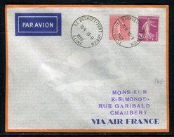 Enveloppe 1er Vol Chambéry / Lyon En 1936, Affranchissement Semeuses, Cachet Au Verso - Réf N 127 - Poste Aérienne