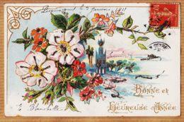 Cpfete 487 Embossed Scintillants BONNE Et HEUREUSE ANNEE Pecquencourt 1911 à Gustave BLANCHETTE Crépy-en-Valois - Nouvel An