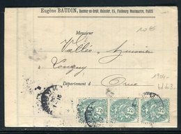 Type Blanc En Bande De 3 Sur Lettre De Paris Pour Longny En 1904 - Réf N 135 - Postmark Collection (Covers)