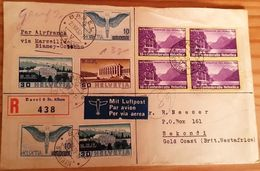 Schweiz Suisse 1938: R-Brief Mit ERSTER Pro Patria Im Block Mit O BASEL 20.VIII.38 Nach SEKONDI 8 SEP 38 GOLD COAST - Poste Aérienne