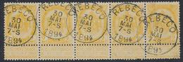 "Fine Barbe - N°54 En Bande De 5 Obl Simple Cercle ""Rebecq"" - 1893-1900 Schmaler Bart"