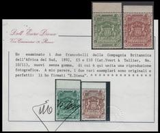 Africa Sur Compañía South Africa Company Rhodesia 10/11 Sc 18 19 Sg 12 13 1892 - Sellos