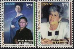 Upaep Nicaragua 2266/67 1998 Lolita Soriano Violeta Barrios MNH - Zonder Classificatie