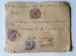 """Lettre  """" ASSURÉ """" 1100 Fr-   HANNUT  21/01/1889  - LILLE NORD - Autres"""