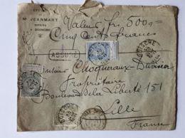 """Lettre  """" ASSURÉ """" 500 Fr-   DOISCHE  30/01/1904  - LILLE Gare Nord - Me JEANMART Notaire - Belgium"""