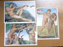 Naakt, Nude, Naked / 3 Cards, Michelangelo E La Cappella Sistina - Vaticaan -> Unwritten - Tableaux