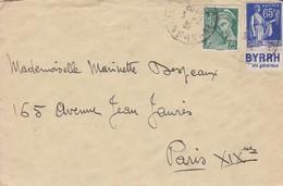 """Type Paix 65 C. Bleu Avec Bandelette Publicitaire """"Byrrh"""" - 1932-39 Paix"""