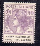 ITALIA REGNO ITALY KINGDOM 1924 PARASTATALI CASSA NAZIONALE ASSICURAZIONE INFORTUNI SUL LAVORO CENT. 50c MLH - 1900-44 Victor Emmanuel III