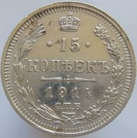 Russia 15 Kopeks 1914 XF / UNC - Silver - Russie