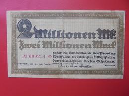 MÜNSTER/WESTFALEN 2 MILLION MARK 1923 CIRCULER (B.9) - [ 3] 1918-1933 : Repubblica  Di Weimar