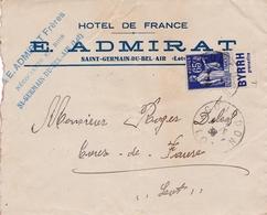 """Type Paix 65 C. Bleu Avec Bandelette Publicitaire """"Byrrh"""" Sur Lettre - 1932-39 Paz"""