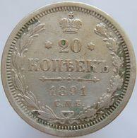 Russia 20 Kopeks 1891 VF - Silver - Russie