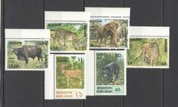 X337 1977 BANGLADESH AFRICAN FAUNA WILD ANIMALS #94-99 SET MNH - Francobolli