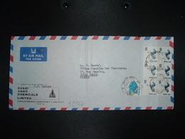 LETTRE Par Avion Pour La FRANCE TP OISEAU 50 BLOC DE 6 + TP POISSON 5 OBL. + ZUARI AGRO CHEMICALS LIMITED ZUARINAGAR - India