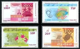 POLYNESIE 2014 - Yv. 1048 1049 1050 Et 1051 **   Faciale= 1,72 EUR - Numismatique Billets FCFP (4 Val.)  ..Réf.POL24959 - Polynésie Française