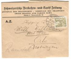 3 Rp. Solo Schweizerische Verkehrs- Und Tarif-Zeitung Nach Norwegen 1947 - Svizzera