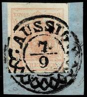 "(1850), 3 Kr. Luxus-Bfst. , Zier-Stp. "" AUSSIG "" , A2855 - Oblitérés"