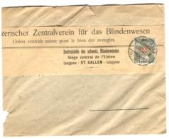 Schweiz - Dienstmarke 2 P. Auf Brief Von Zentralverein Für Das Blindenwesen Envoi Sous Bande 1913 - Storia Postale