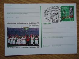 GERMANY  STAMPED STATIONERY  1997 FOOTBALL TIM POSTMARK HORSES - Farm