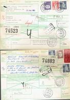 2 International Paketkarte Bahn-RFA Leutenbach Expres Und Weisel Nach Herstal Et Jupille S/M Belgien-siehe Beschreibung - Storia Postale