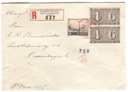 1943 Ausstellung 100 Jahre Schweiz. Postmarken Registered Label From Exhibition CENSORED With LABEL Sent To Denmark - Suisse